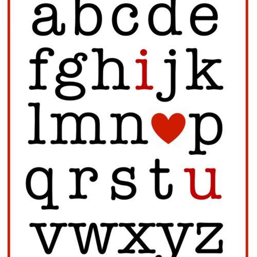 I (heart) You alphabet