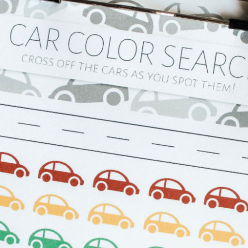 Car Color Search Road Trip Printable Game for Kids